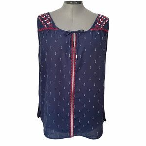 Embroidered cotton sleeveless top Eddie Bauer XL